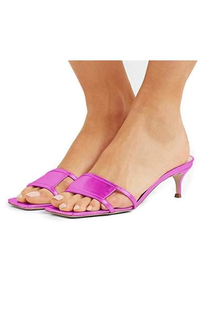 YDN Square Open Toe Low Kitten Heels