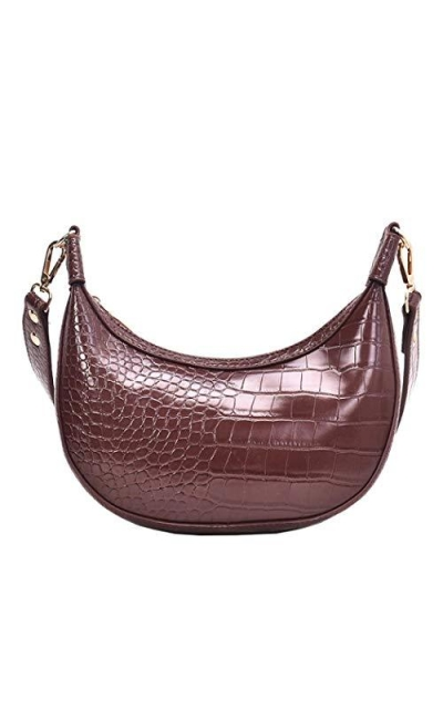 Women Half Moon PU Leather Crossbody  Bag