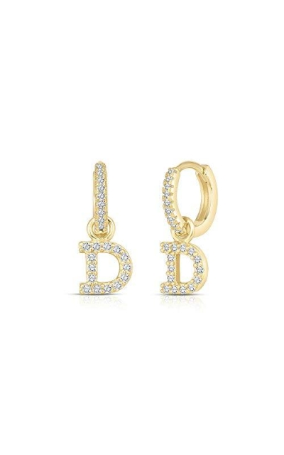 18k Gold Plated Charm, Initial Earring