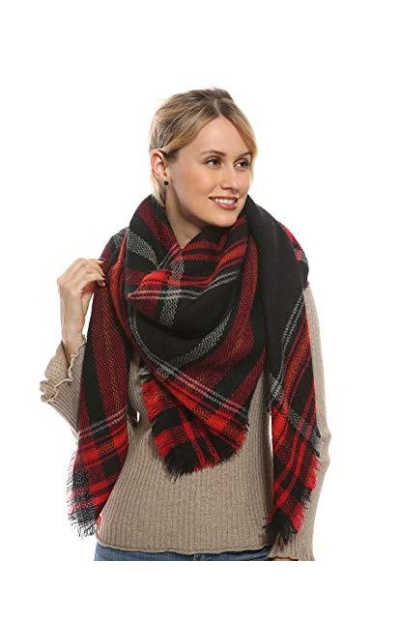 Women Plaid Blanket Scarf