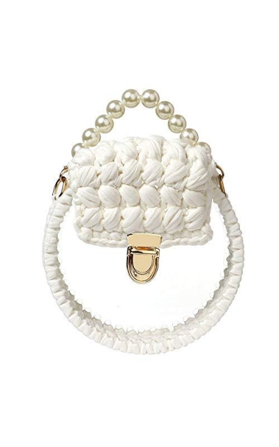 Clear Woven  Bag with Pearl Handle