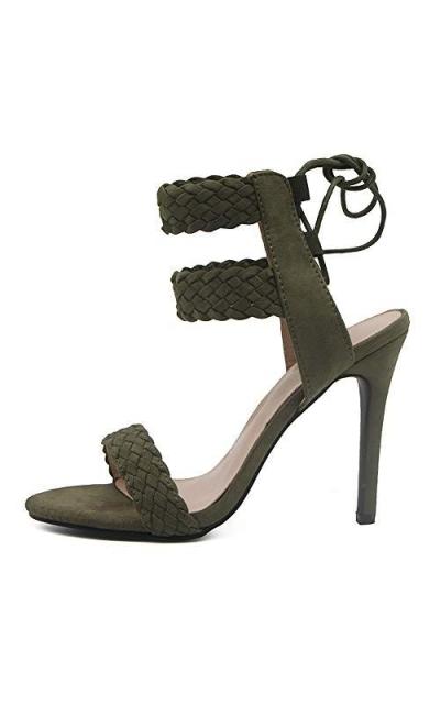 LALA IKAI Stiletto Heel Lace up Sandals