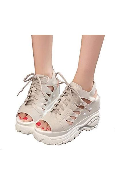 getmorebeauty Block Wedge Sneaker Sandals