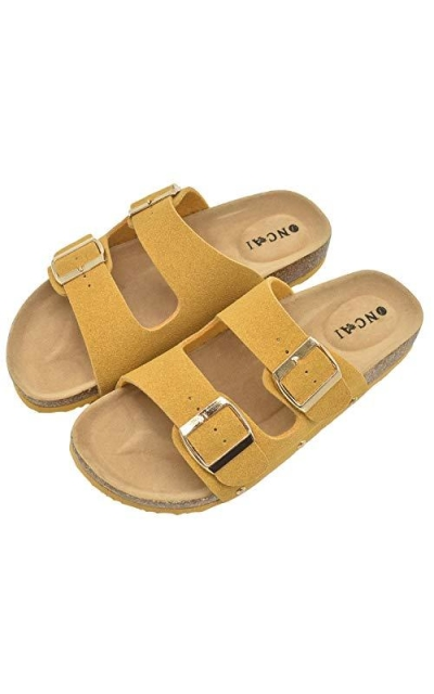 Womens Flat Slide Sandals with Arch Support