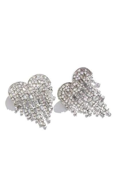 Heart of Love Tassel Dangle Crystals Earrings