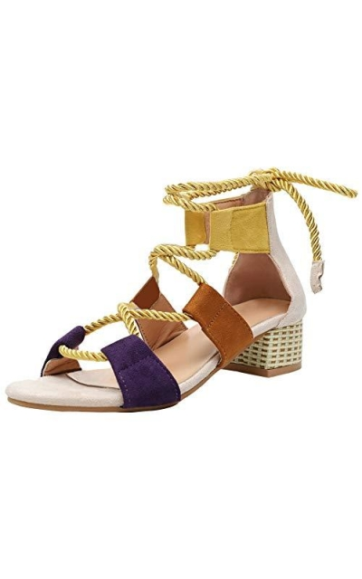 Vimisaoi Color Block Rope Sandals