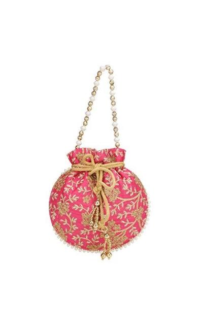 Indian Ethnic Designer Embroidered Silk Potli Bag