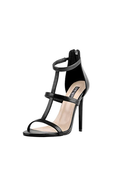 Onlymaker T Strap Open Toe Ankle Strappy Stiletto Sandals