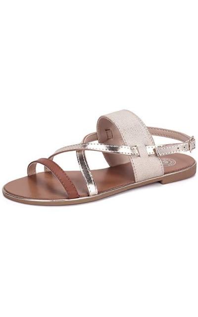 CAMEL CROWN Flat Gold Sandals