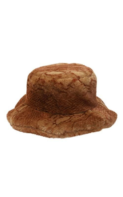 La Carrie Snakeskin Print Faux Fur Bucket Hat