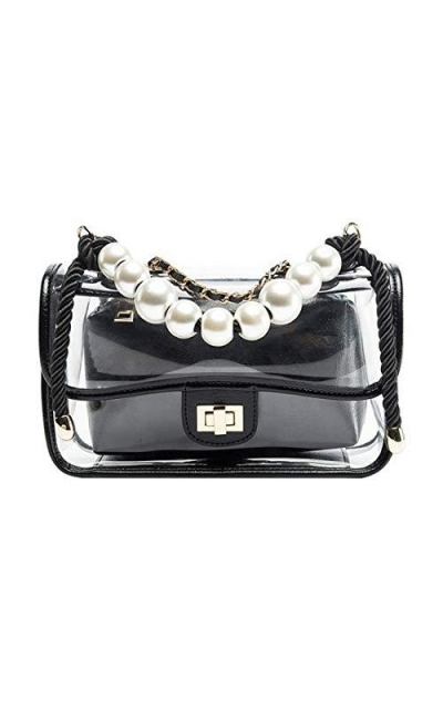 Gigiana Women's Clear Purse with Pearls