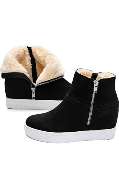 Athlefit Fur Wedge Sneakers