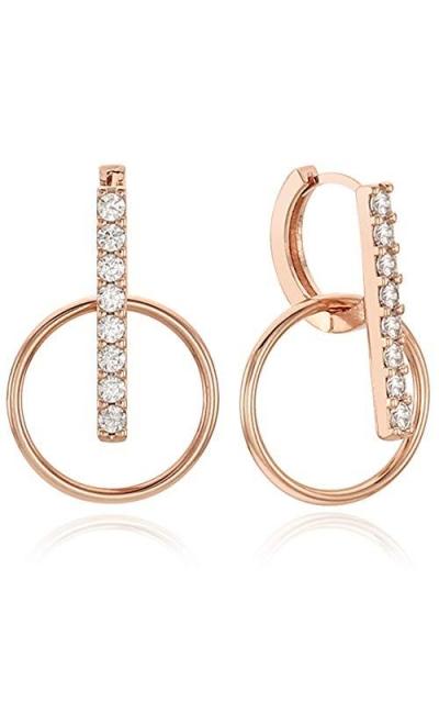 EVA 14K Gold Post Cubic Zircornia Round-Shaped drop Hoop Earrings