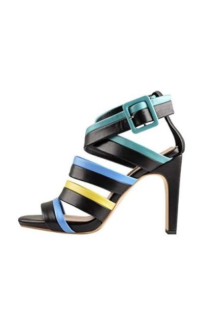 Onlymaker Patchwork Straps Open Toe Crisscross Sandals