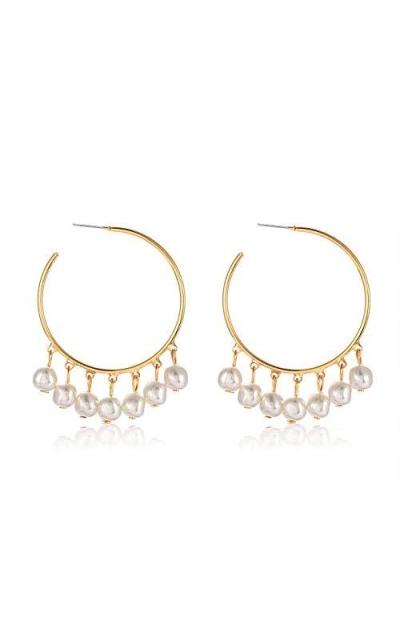 BVGA Pearl Hoop Earrings