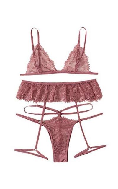 SheIn Floral Lace Garter Lingerie Set