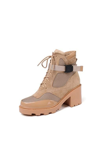 vivianly Lace Up Block Mid Heel Combat Boot