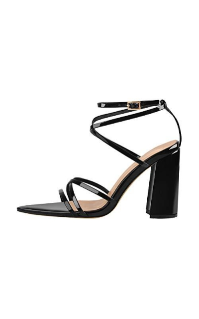 Onlymaker  Ankle Strap Crisscross Pointed Toe Sandals