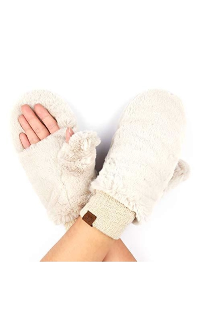 Hatsandscarf C.C Exclusives Thick Knit Faux Fur Sherpa Fleece Mittens
