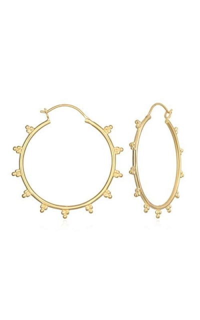 Gold Dotted Hoop Earrings