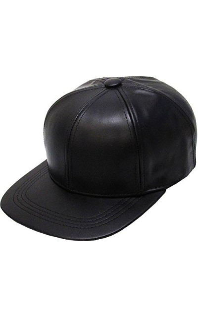 Genuine Leather Flat Bill Baseball Hat Cap