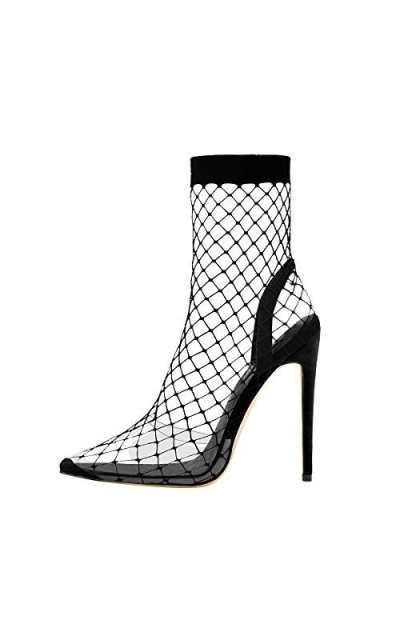 Onlymaker Clear Fishnet Stocking Pointed Pumps
