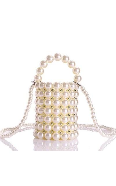 YIFEI Beaded Pearl Evening Bucket Bag