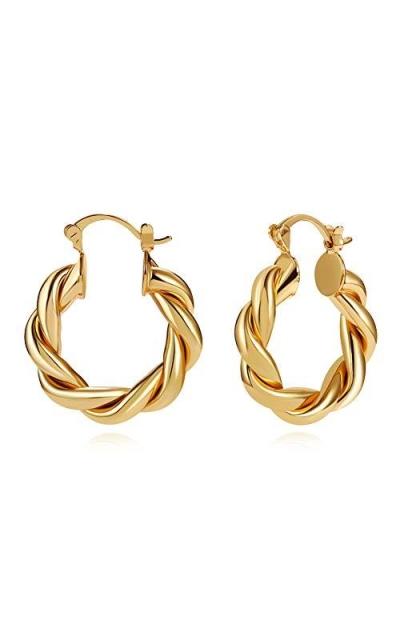 LILIE&WHITE Twisited Gold Chunky Hoop Earrings