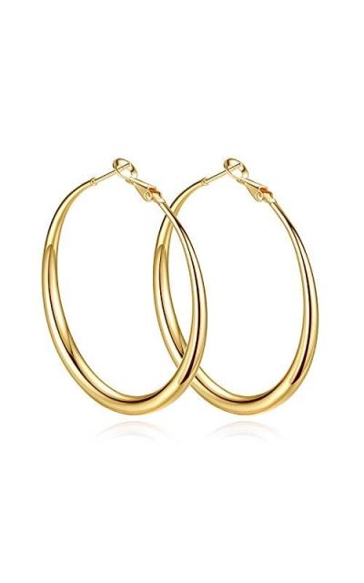 14K Yellow Gold Plated Big Hoop Earrings