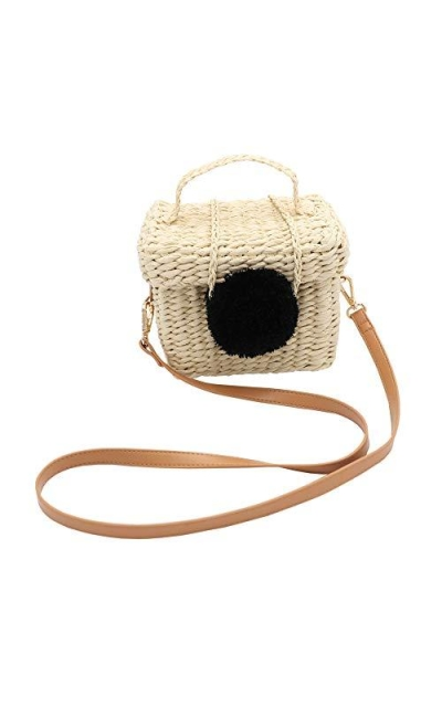 Surell Summer Straw Paper Crossbody Basket Bag