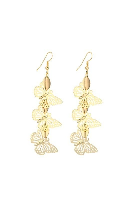IDB Delicate Filigree Dangle Triple Butterfly Drop Hook Earrings
