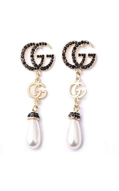 Luxury Letter G Pearl Initial Stud Earrings