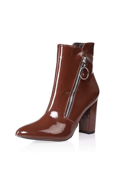 AIIT Patent Leather Ankle Booties