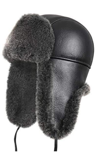 Zavelio Unisex Shearling Aviator Trapper Fur Hat