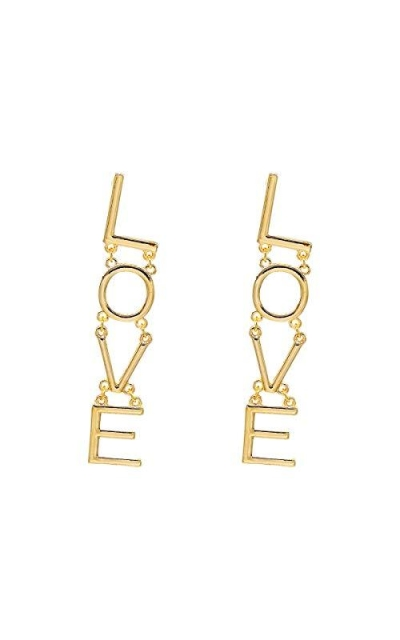 Metal LOVE Letter Drop Statement Earrings
