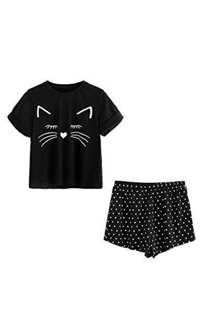 DIDK Cat Print Pajama Set