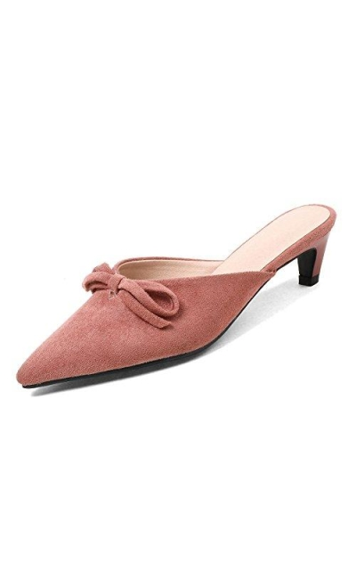 KingRover Button Suede Low Heel Pumps