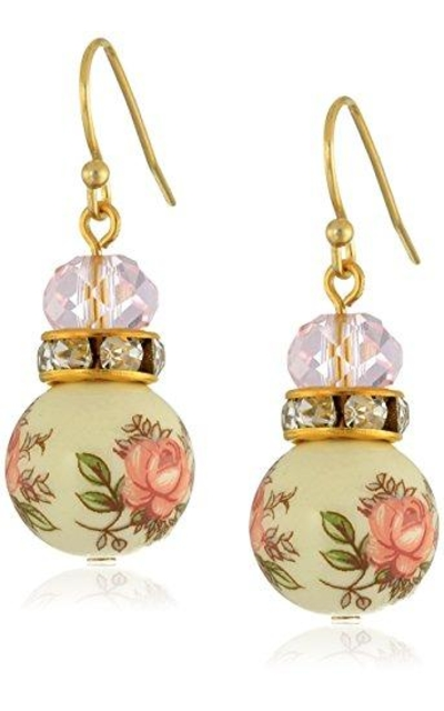 1928 Jewelry Pink Floral Decal Beaded Drop Earrings