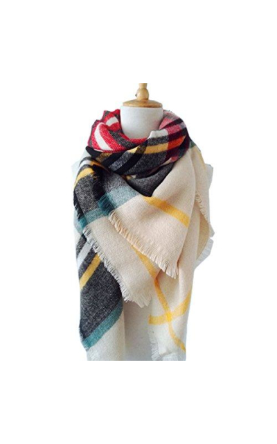 Large Soft Plaid Scarf