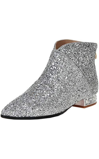 MAVMAX Sequin Pointed Toe Flats Glitter Ankle Boots