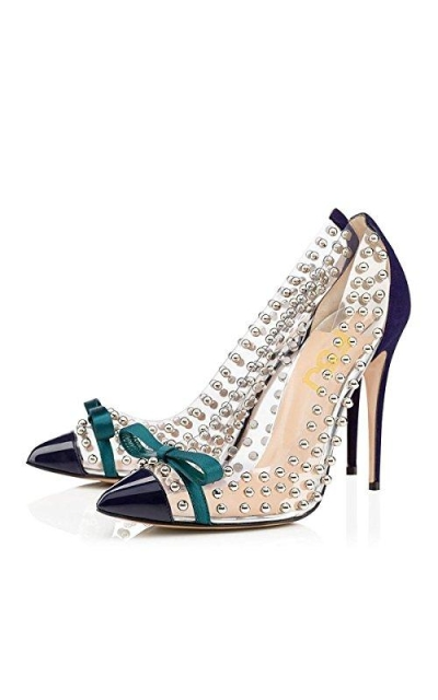 FSJ Studded Pointed Toe Transparent Pumps