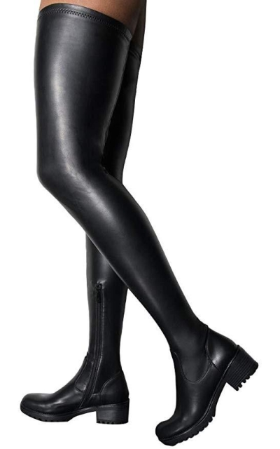 AZALEA WANG Faux Leather Stretch Thigh High Combat Boots-