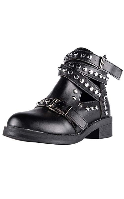 LALA IKAI Leather Rivets Studded Ankle Boots
