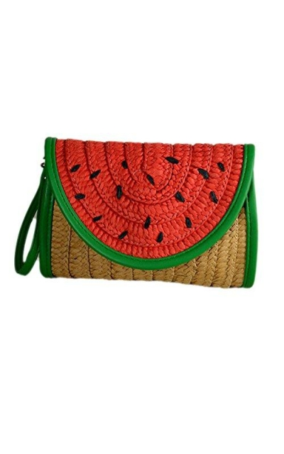 Watermelon Fruit Straw Clutch