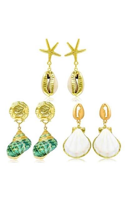 3 Pairs Seashell Pearl Drop Earrings