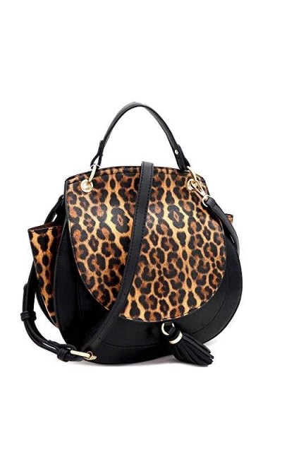 Boho Tassel Leopard Round Flap Vegan Saddle Bag