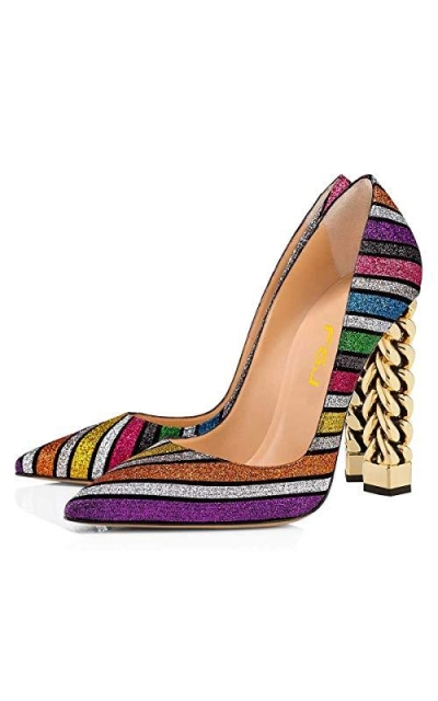 FSJ Rainbow Gold Metal Chain Pumps