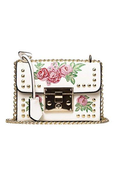 VIASA Embroidery Rose Crossbody Shoulder Bag