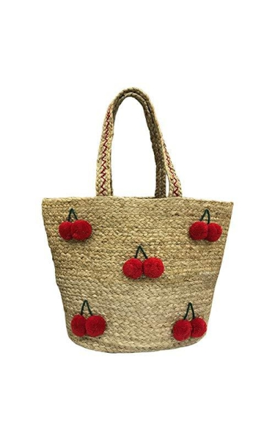 ZOI Handcrafted Red Cherry Straw Bag
