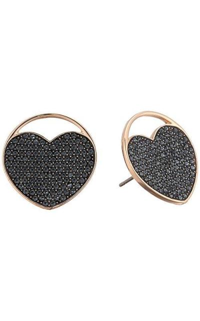 Swarovski Crystal Rose Gold-Tone Ginger Heart Stud Earrings